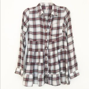Free People Plaid Ruffle Bottom Long Sleeve Top